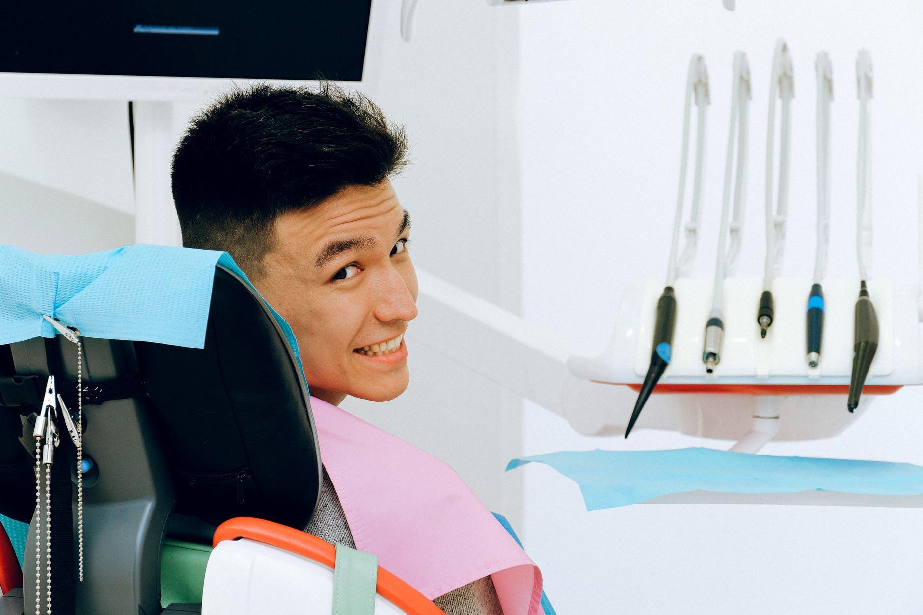 man in dentist chair
